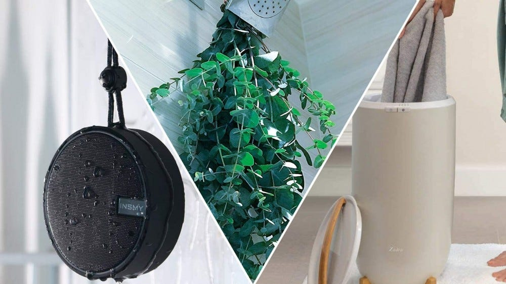 A shower speaker, a bundle of fresh eucalyptus, and a towel warmer.