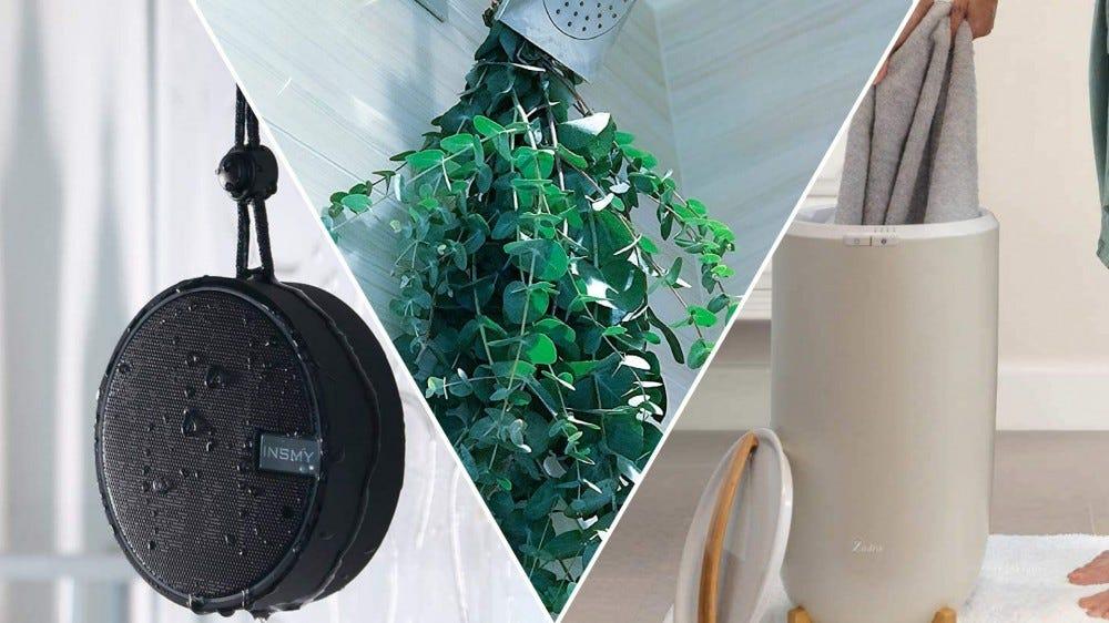 A shower speaker, a bundle of fresh eucalyptus and a towel warmer.