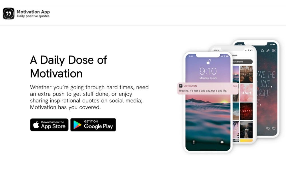 The splashpage for the app Motivation.