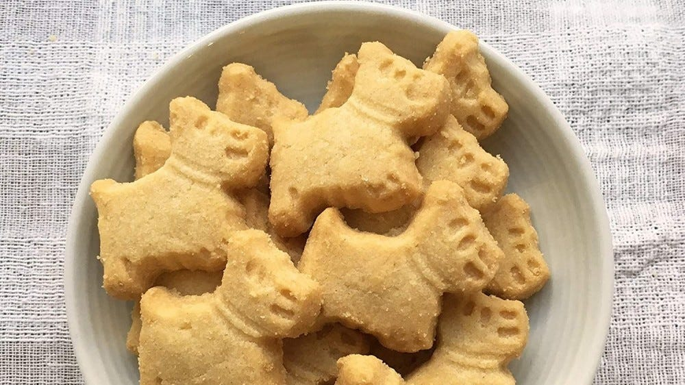 Cute dog shaped shortbread cookies in a bowl.