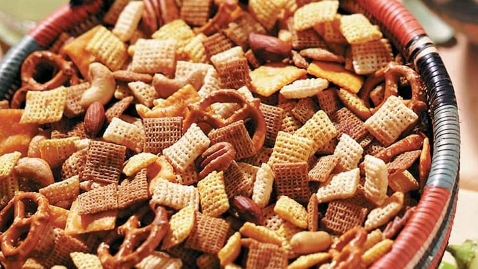 A bowl of Chex Mix.