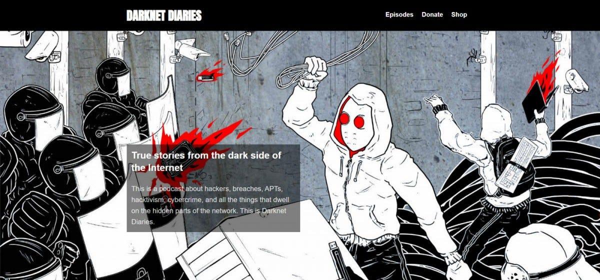 "The ""Darknet Diaries"" website."