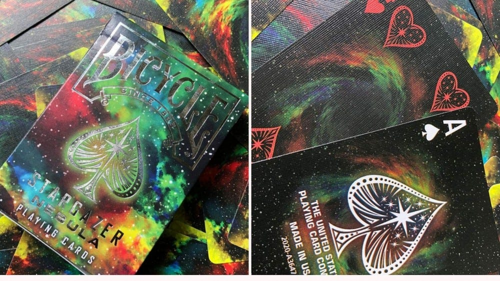The Stargazer Nebula playing card deck from Bicycle.