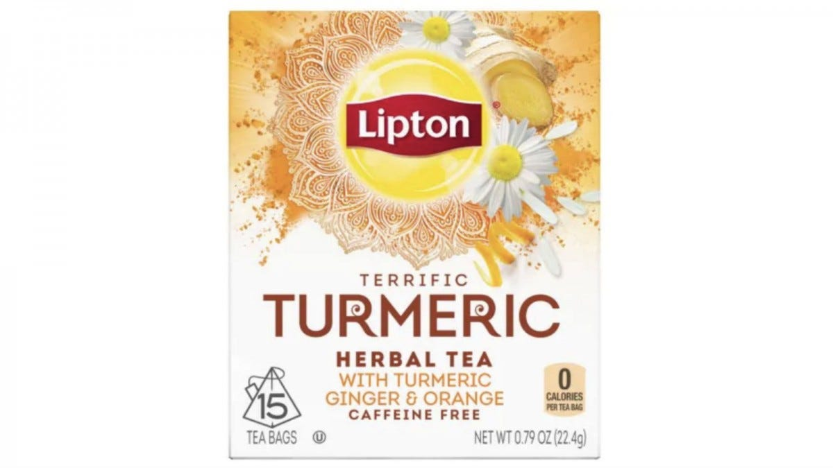 A box of Lipton Terrific Turmeric Tea.