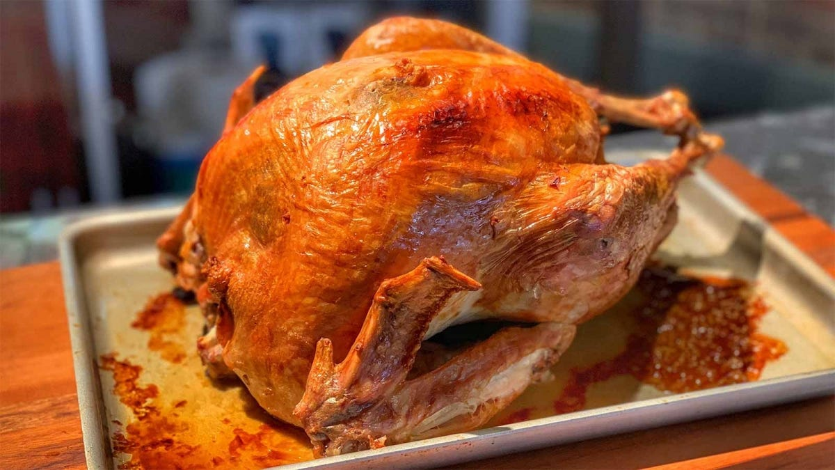 a delicious looking turkey prepared via sous vide and then roasted in the oven
