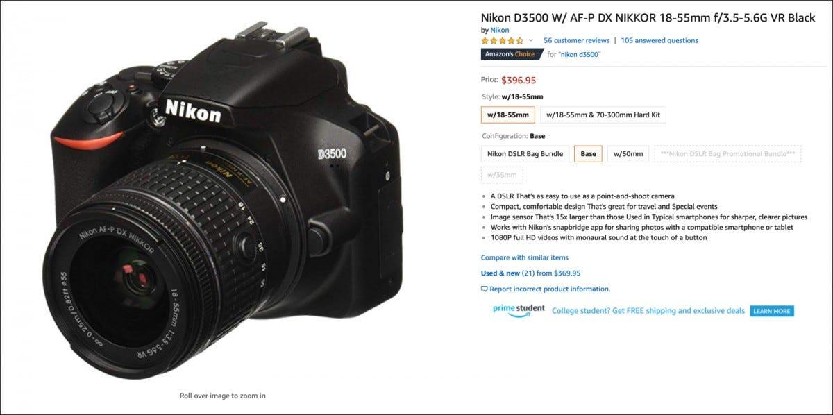 Amazon listing for Nikon d3500