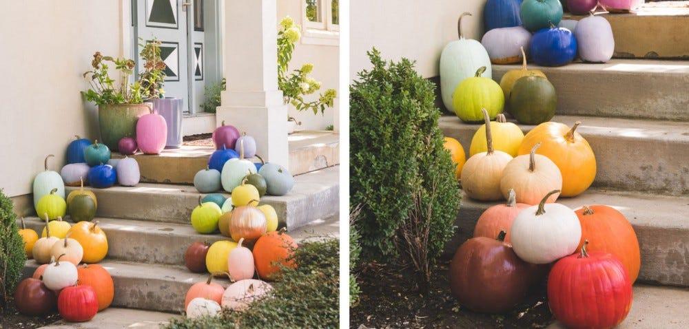 Colorful painted pumpkins on a porch.