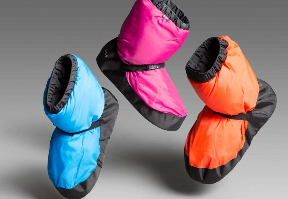 Colorful bloch warm up booties for dancers.