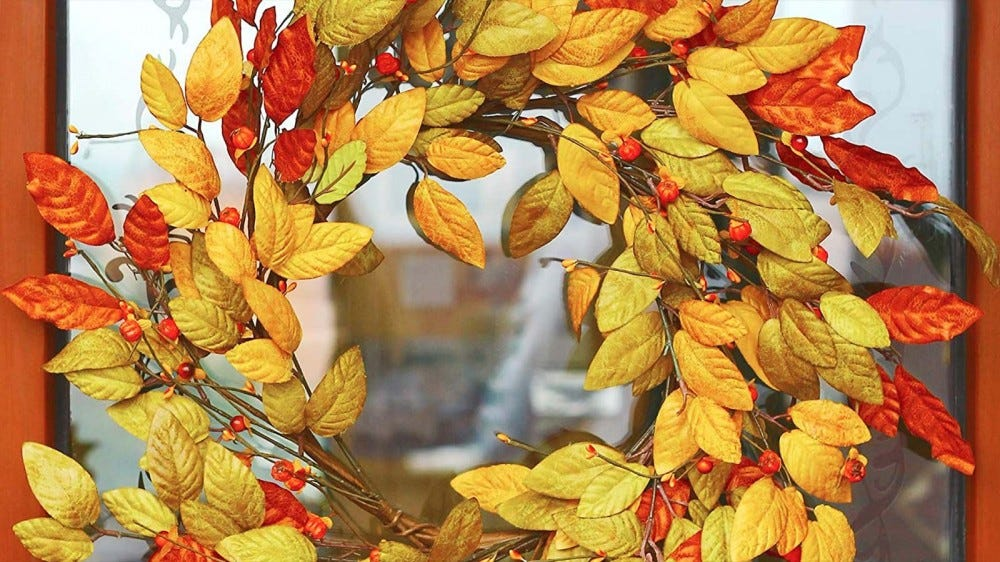 VGIA's 18-inch fall wreath hanging on a glass door.