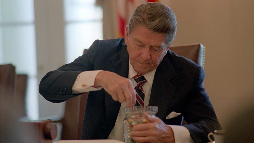 Ronald Reagan eating jelly beans.