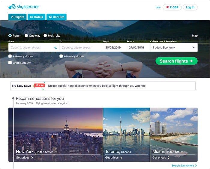 skyscanner web site