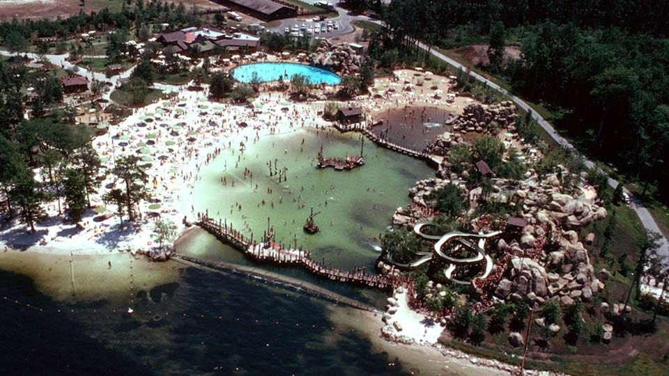 An aerial view of Disney's River Country water park, from the 1980s.
