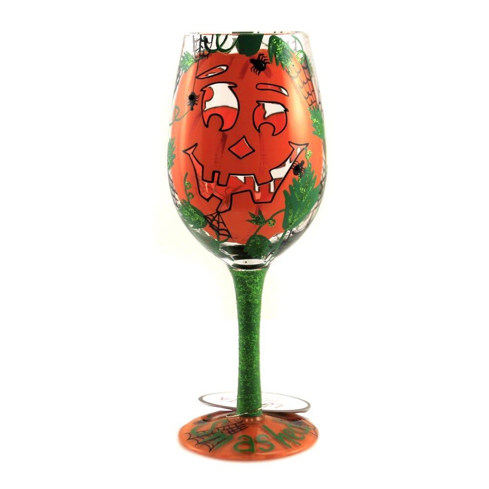 A pumpkin-themed wine goblet.