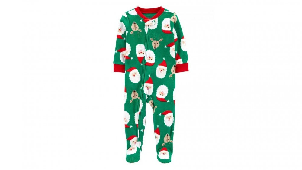 A cute reindeer and Santa patterned one-piece pajama.