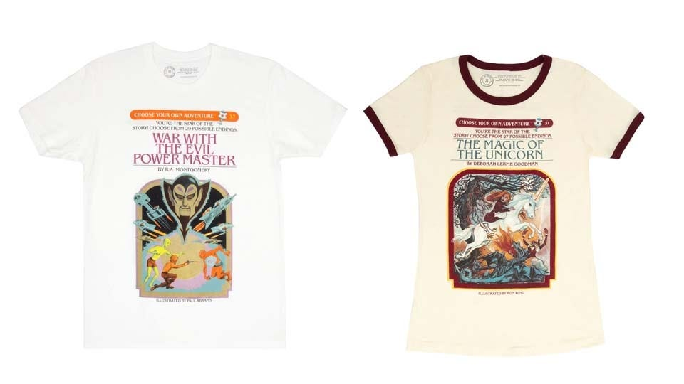 """Two """"Choose Your Own Adventure"""" book cover T-shirts."""