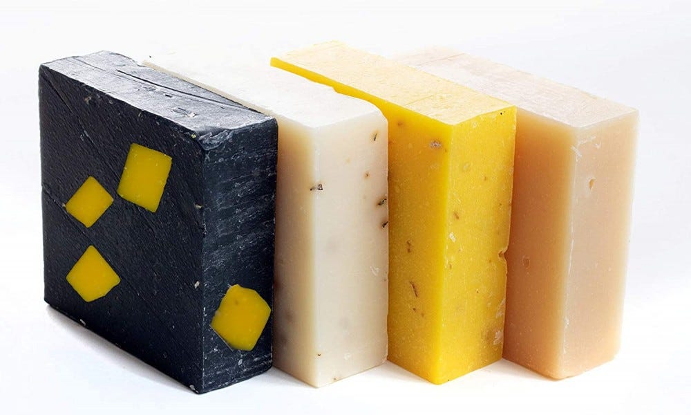 Bars of different scented soap.