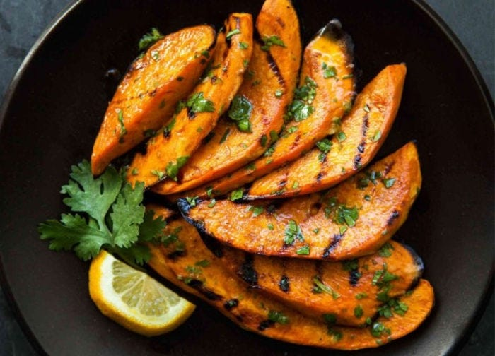 Wedged slices of sweet potatoes