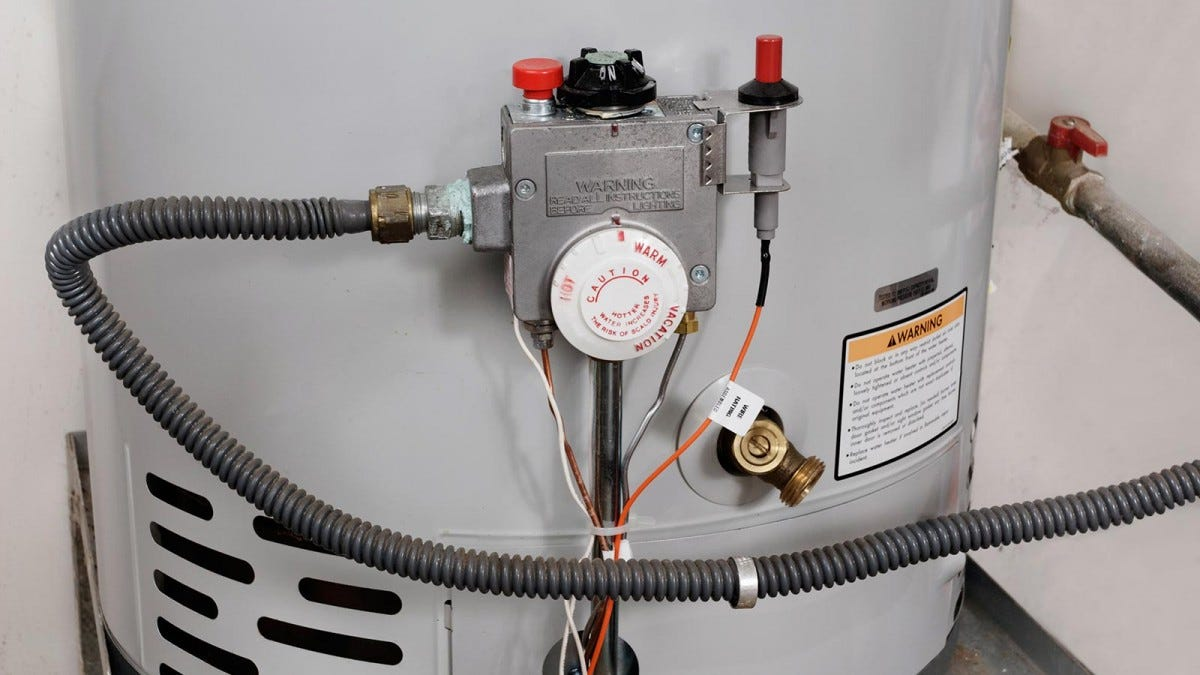 A close up view of the controls on a water heater.