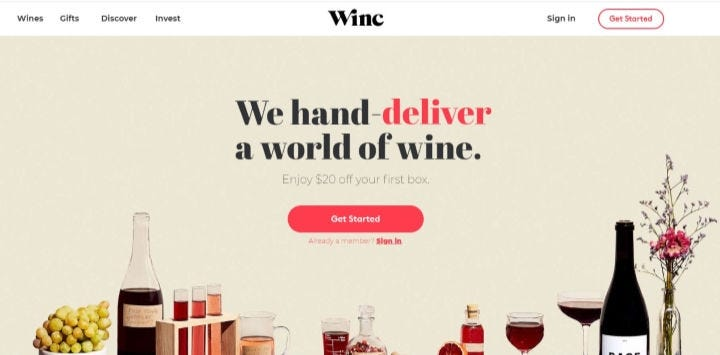 The Winc wine club website.