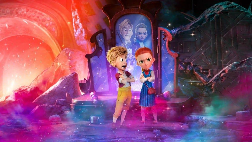 """Персонажи Гензеля и Гретель, стоящие перед зеркалом в сцене из """"Секретное агентство по контролю магии."""""""