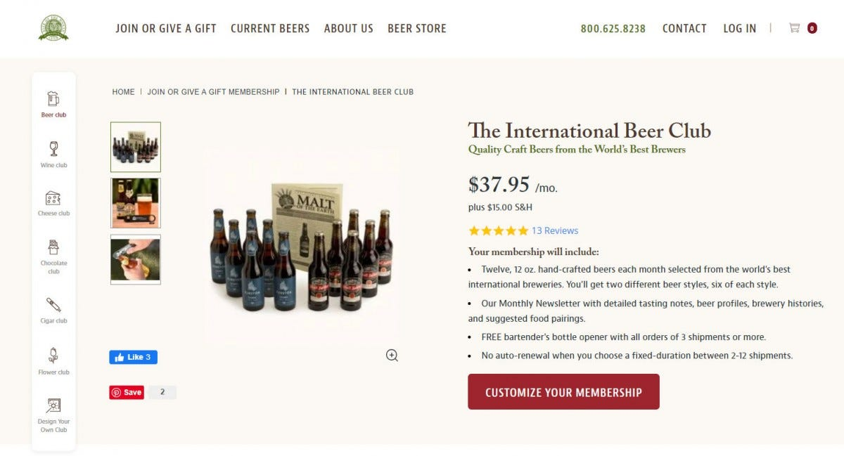 The International Beer Club website.
