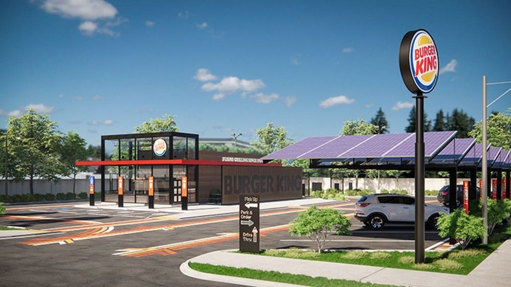 triple drive thru lanes are shown in a new burger king rendering.