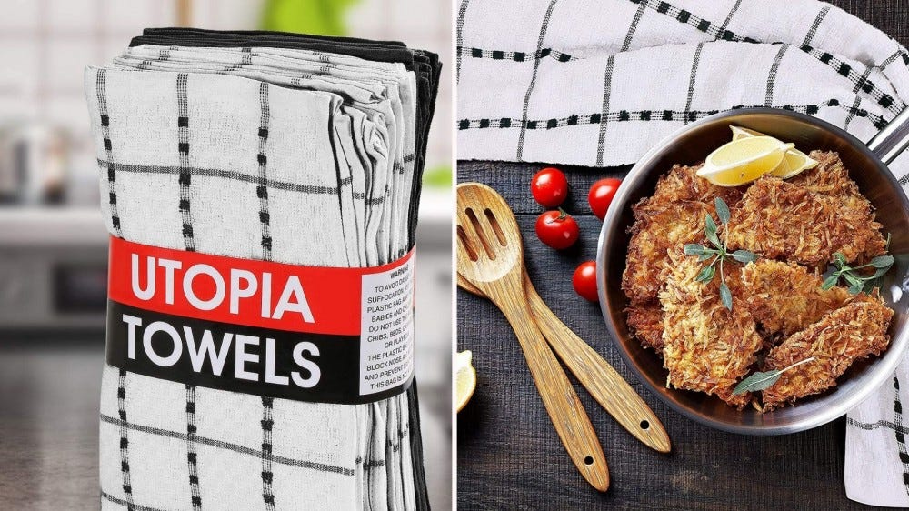 Two images: The left image is of the Utopia towels set and the right image is of a coconut crusted fish with a dish towel nearby.