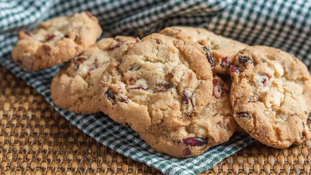 Fresh cranberry chocolate chip cookies.