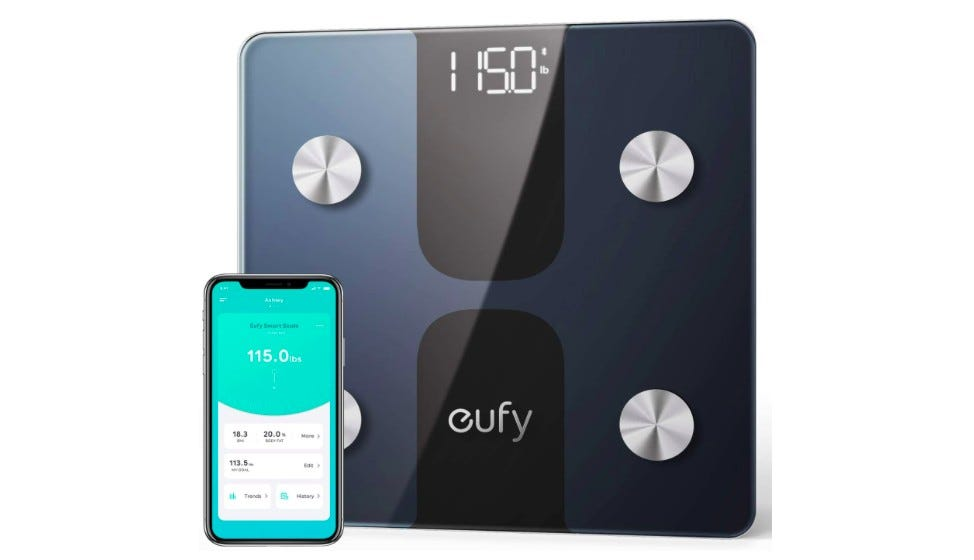 The Euphy smart scale C1 and its companion app on a phone.