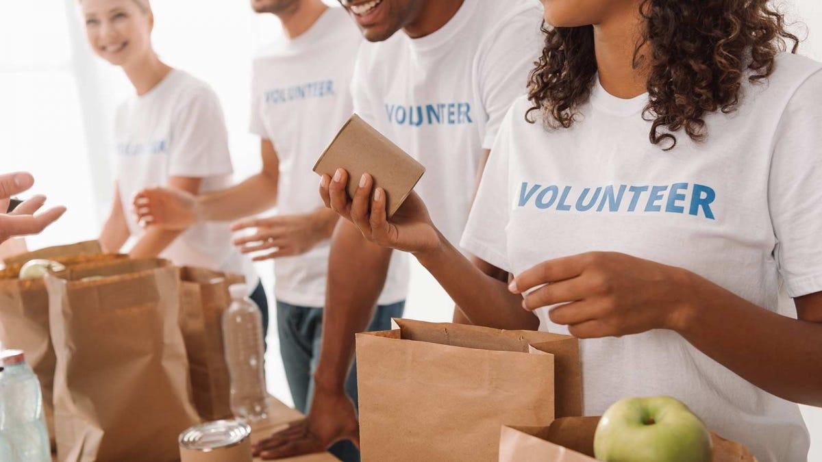 Volunteers sorting donated food.