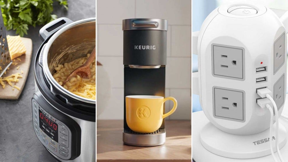 "Left to right: an Instant Pot pressure cooker, a mini Keurig coffee maker, and a power ""tower"" extension cord with power and USB ports."