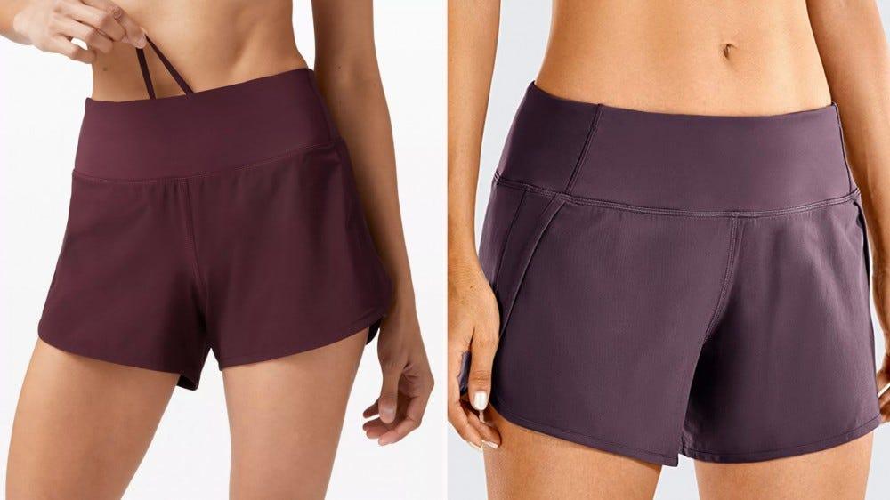 two purple shorts side by side
