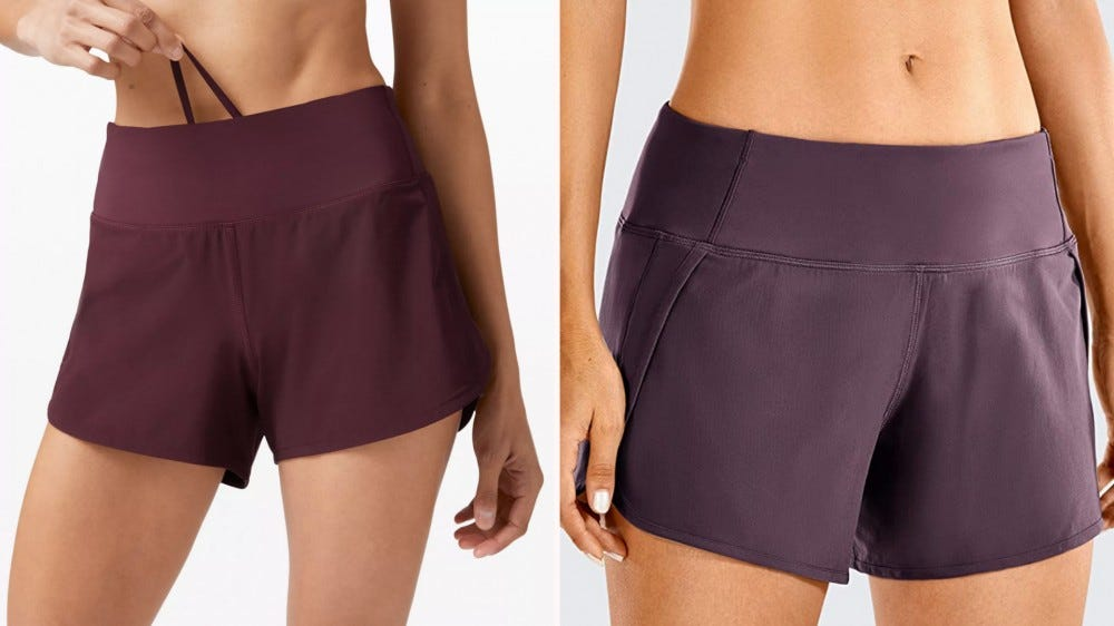 two purple shorts next to each other