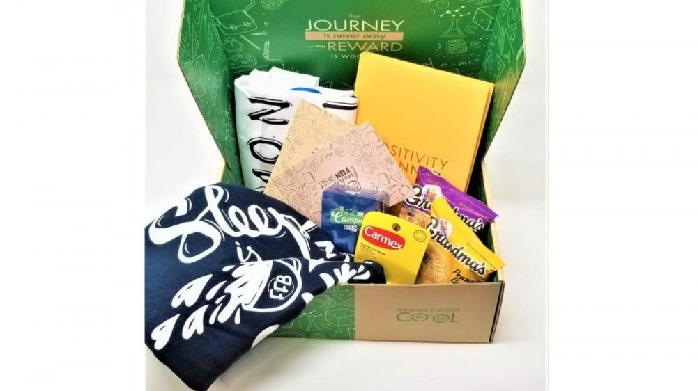 A Freshman Fun Box full of items.