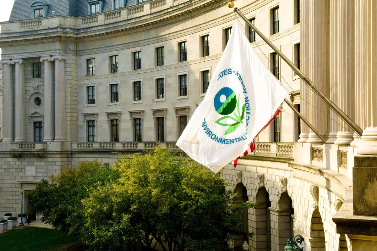 The EPA flag flying outside the EPA building in Washington, D.C.