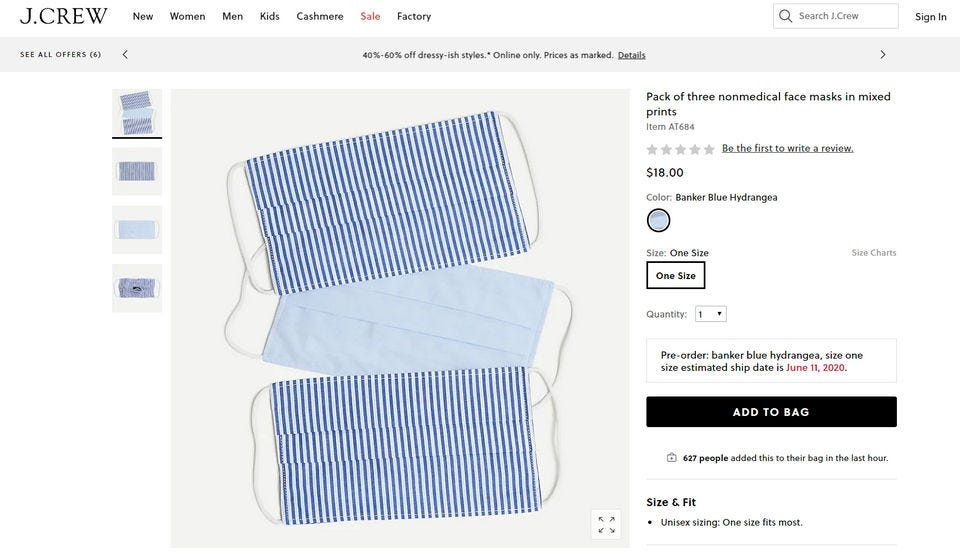 Three blue and white face masks on the J.Crew website.