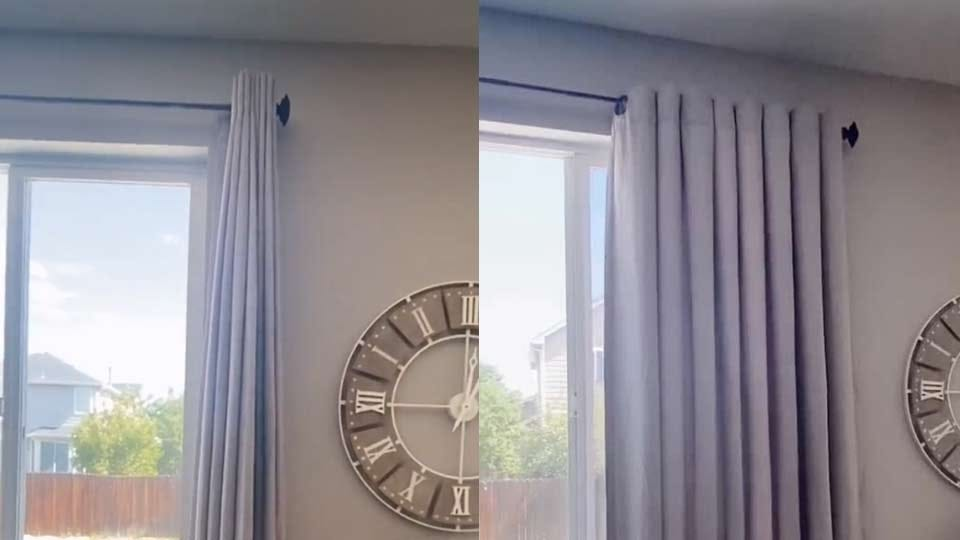 A before and after shot showing the results of a simple DIY curtain hack.