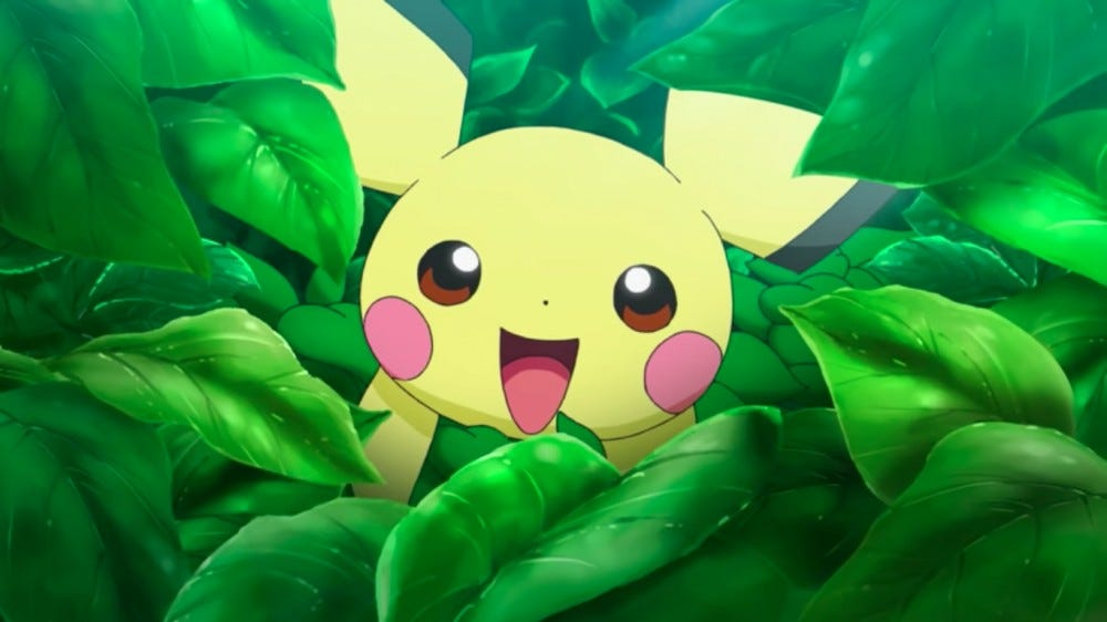 Pokemon's Pikachu hides in bushes.