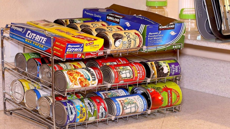 A can rack filled with cans.