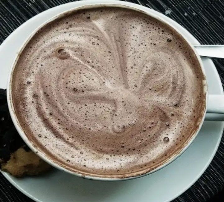 A mug filled with peppermint hot chocolate