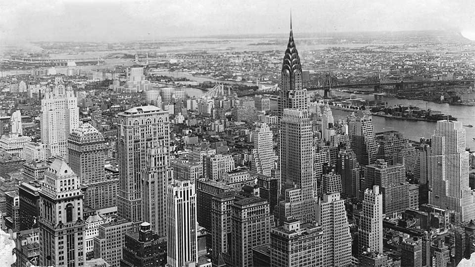The New York City skyline in the 1930s.