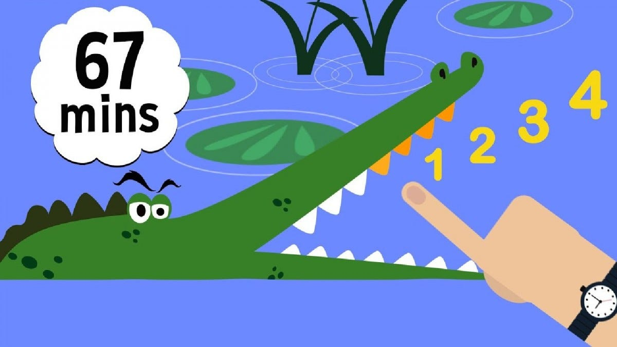 Promotional image for Toddler Learning Fun, showing a cartoon alligator learning to count.