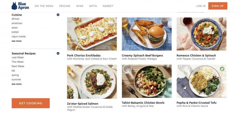 The meal options on the Blue Apron website.