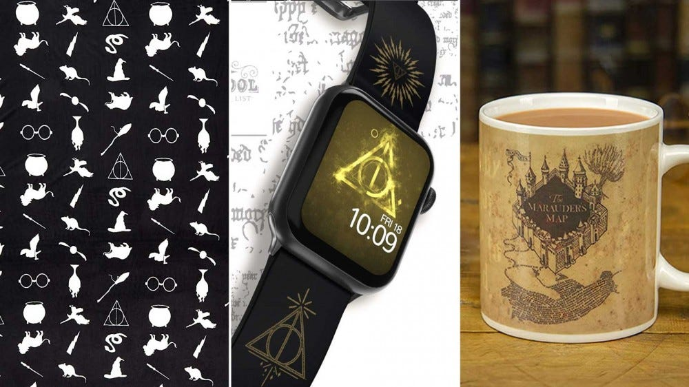 Harry Potter themed gifts like a blanket, Apple Watch band, and mug.