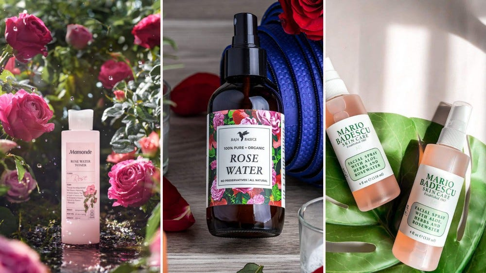 Three different rose water-based products.