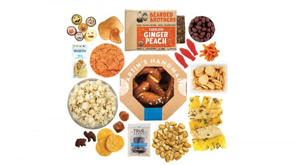 The contents of a Mouth Snacks of the Month box.