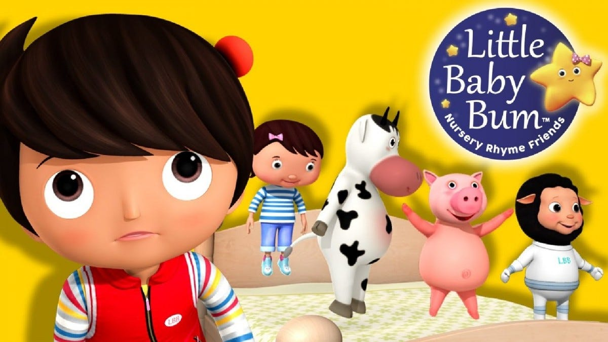 Promotional image for Little Baby Bum featuring cartoon children and animals.