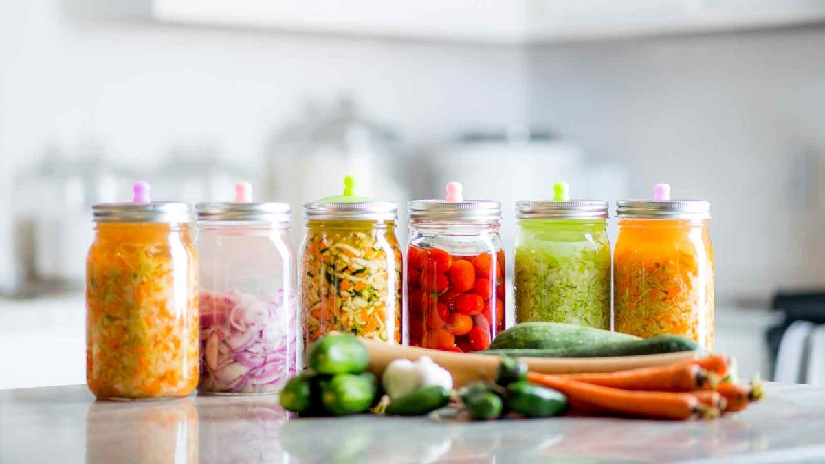 vegetables fermenting on a kitchen counter