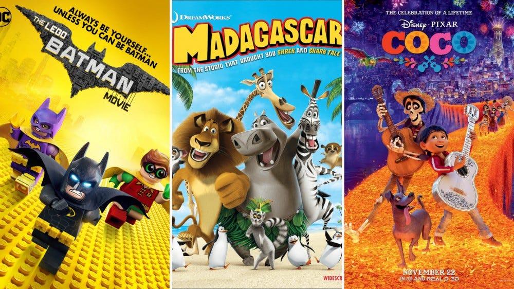 Movie ads for DC's 'The Lego Batman Movie,' DreamWorks' 'Madagascar,' and Disney Pixar's 'Coco.'