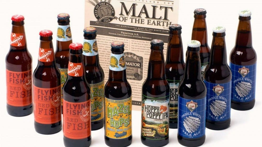 assortment of beer bottles in Beer of the Month Club